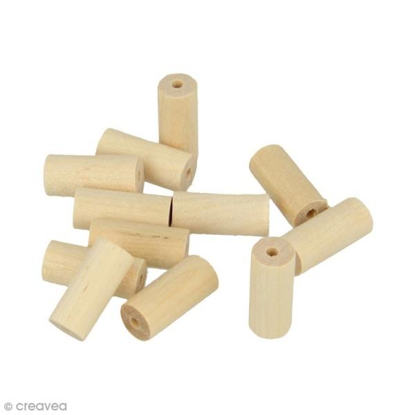 Perles cylindriques en bois à décorer - 20 x 8,6 mm - 25 pcs - Photo n°1