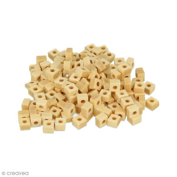 Perles carrées en bois à décorer - 5 mm - 150 pcs - Photo n°1