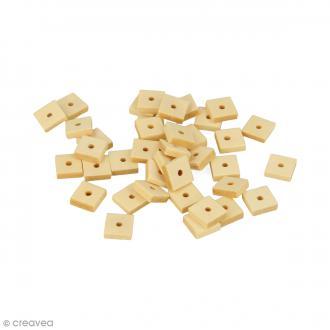 Perles plates carrées en bois à décorer - 10 mm - 50 pcs