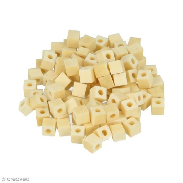 Perles carrées en bois à décorer - 5 mm - 100 pcs - Photo n°1