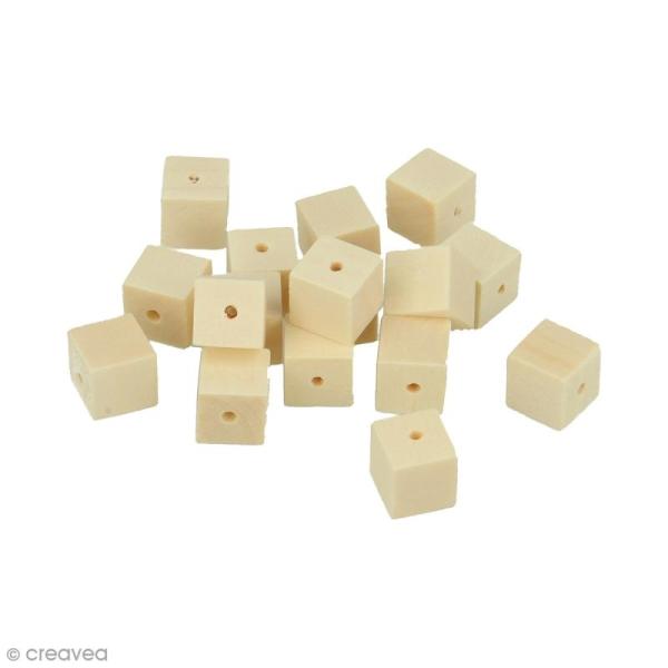 Perles carrées en bois à décorer - 10 mm - 30 pcs - Photo n°1