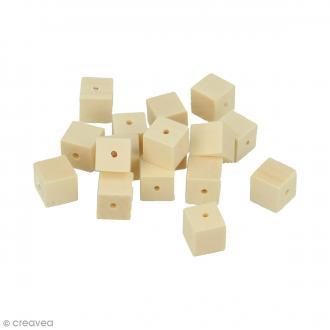 Perles carrées en bois à décorer - 10 mm - 30 pcs