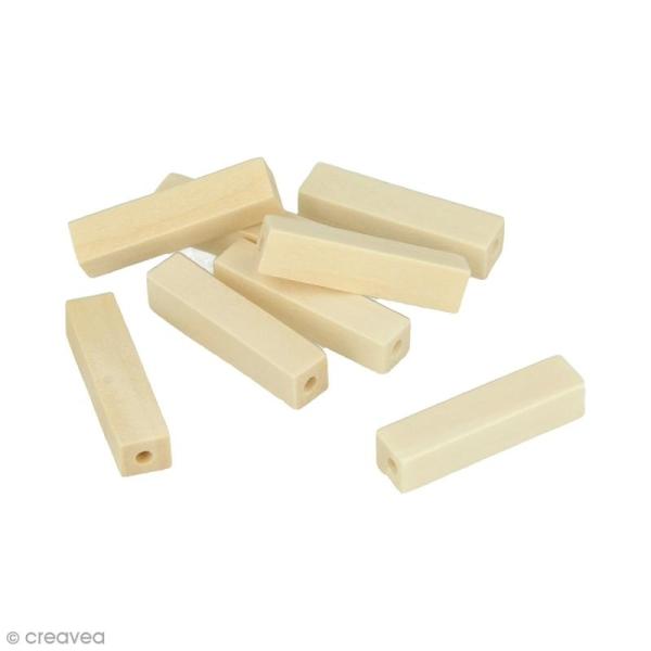 Perles rectangulaires en bois à décorer - 30 mm - 10 pcs - Photo n°1