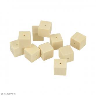 Perles carrées en bois à décorer - 15 mm - 20 pcs