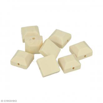 Perles carrées en bois à décorer - 12 mm - 8 pcs
