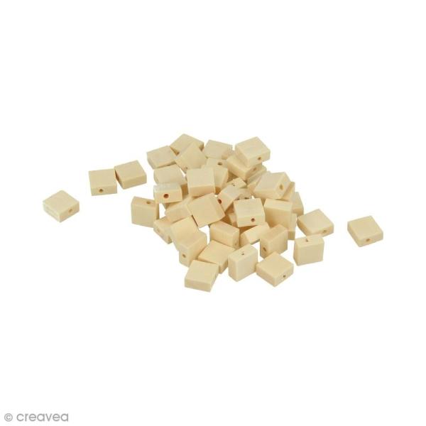 Perles plates carrées en bois à décorer - 10 mm - 50 pcs - Photo n°1