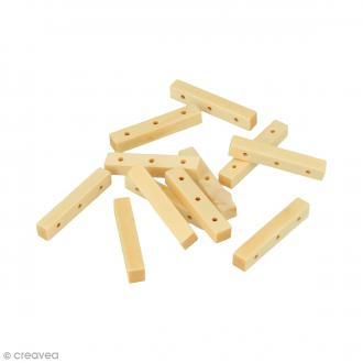 Perles à 3 trous rectangulaires en bois à décorer - 30 mm - 12 pcs