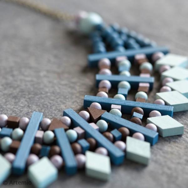 Perles à 4 trous rectangulaires en bois à décorer - 44,8 mm - 8 pcs - Photo n°2