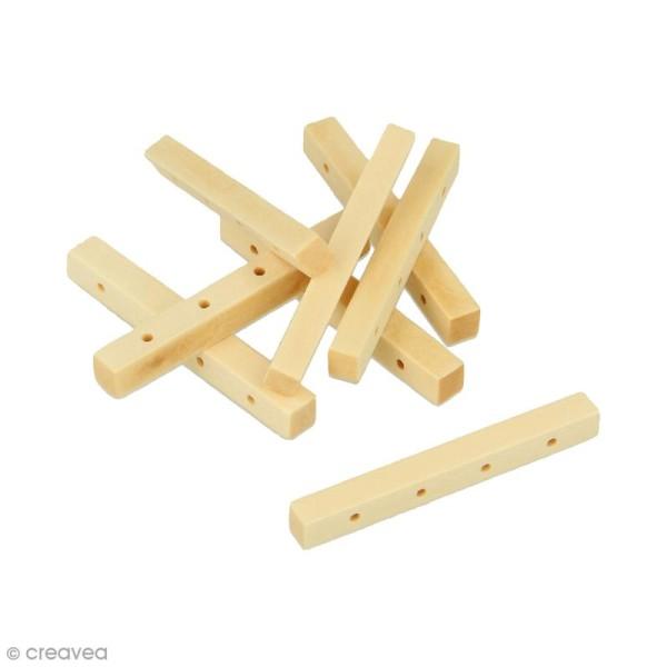 Perles à 4 trous rectangulaires en bois à décorer - 44,8 mm - 8 pcs - Photo n°1