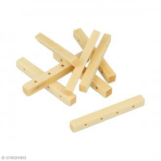 Perles à 4 trous rectangulaires en bois à décorer - 44,8 mm - 8 pcs