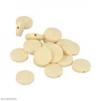 Perles plates rondes en bois à décorer - 15 mm - 17 pcs