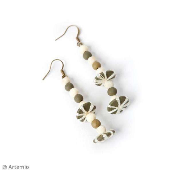Perles plates rondes en bois à décorer - 15 mm - 35 pcs - Photo n°4
