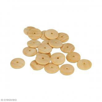 Perles plates rondes en bois à décorer - 15 mm - 35 pcs
