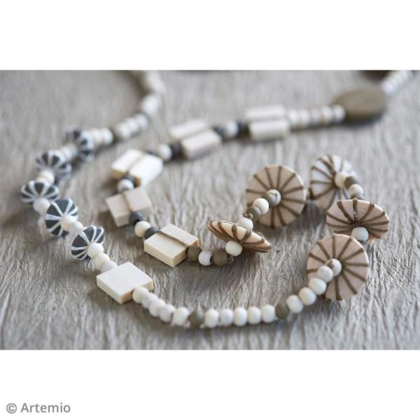 Perles plates rondes en bois à décorer - 10 mm - 50 pcs - Photo n°2