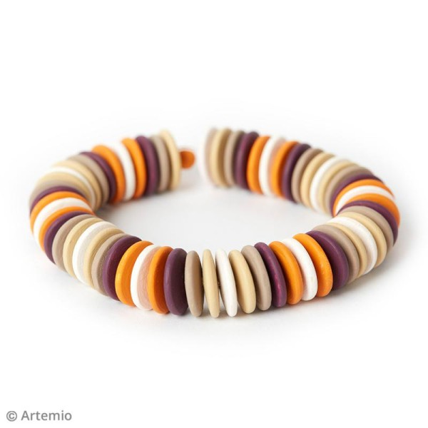 Perles plates rondes en bois à décorer - 10 mm - 50 pcs - Photo n°6
