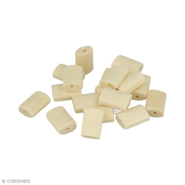 Perles plates rectangulaires en bois à décorer - 15,4 x 10,5 mm - 18 pcs - Photo n°1