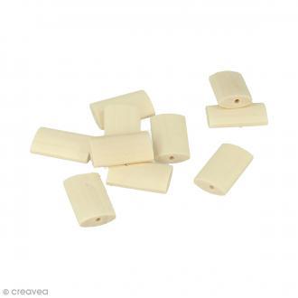 Perles plates rectangulaires en bois à décorer - 25 x 15,5 mm - 10 pcs