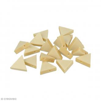 Perles plates triangulaires en bois à décorer - 19 x 17 mm - 20 pcs
