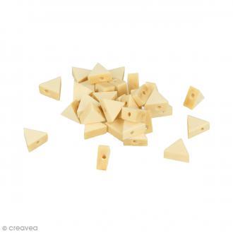 Perles plates triangulaires en bois à décorer - 11 x 9,7 mm - 35 pcs
