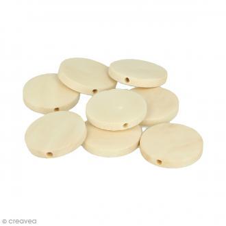 Perles plates rondes en bois à décorer - 25 mm - 18 pcs