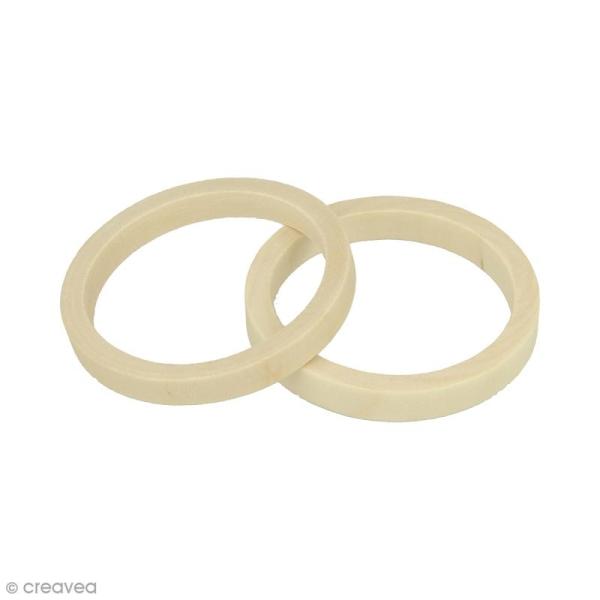 Bracelet rond en bois à décorer - 68 mm - 2 pcs - Photo n°1