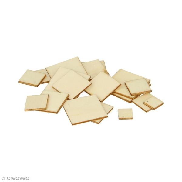 Formes plates carrées en bois à décorer - 1 à 2,5 cm - 129 pcs - Photo n°1