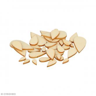 Formes plates gouttes en bois à décorer - 1 à 3 cm - 129 pcs