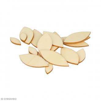 Formes plates pétales en bois à décorer - 1 à 4 cm - 129 pcs