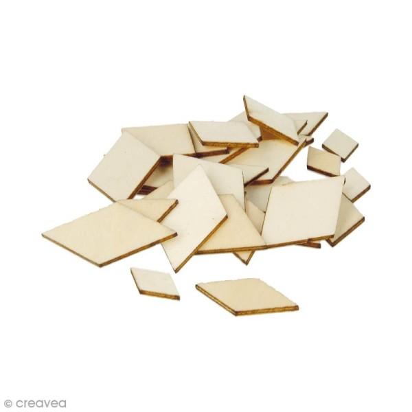Formes plates losanges en bois à décorer - 1 à 3 cm - 129 pcs - Photo n°1