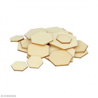 Formes plates hexagonales en bois à décorer - 0,8 à 3 cm - 129 pcs