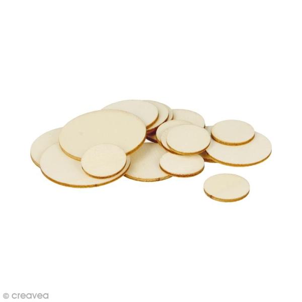 Formes plates rondes en bois à décorer - 1 à 3 cm - 129 pcs - Photo n°1