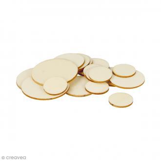 Formes plates rondes en bois à décorer - 1 à 3 cm - 129 pcs