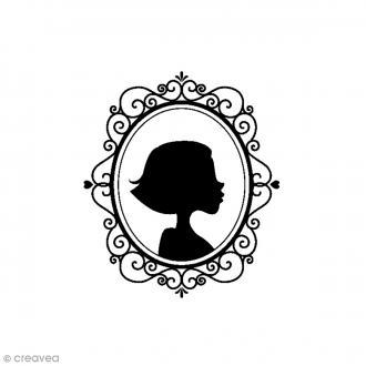 Tampon Bois Fille miroir - 4,5 x 5,5 cm