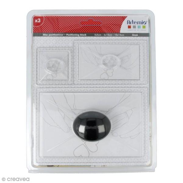 Bloc de positionnement pour tampons transparents avec poignée - 3 pcs - Photo n°1