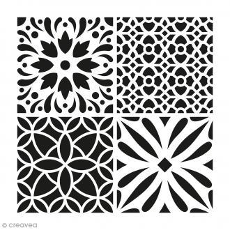 Pochoir Home Déco - Carreau ciment fleurs - 30 x 30 cm