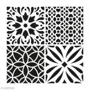 Pochoir Home Déco - Carreau ciment fleurs - 30 x 30 cm - Photo n°1