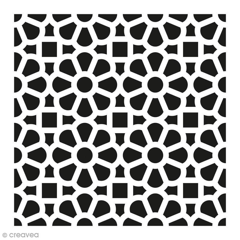 pochoir home d co carreau ciment fleuri 15 x 15 cm. Black Bedroom Furniture Sets. Home Design Ideas