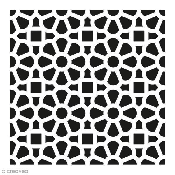 Pochoir Home Déco - Carreau ciment fleuri - 15 x 15 cm - Photo n°1
