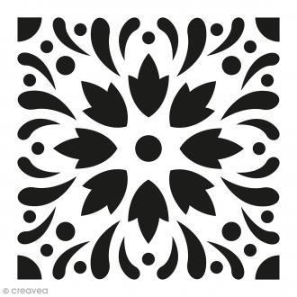 Pochoir Home Déco - Carreau ciment Eclats fleuris - 15 x 15 cm