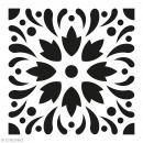 Pochoir Home Déco - Carreau ciment Eclats fleuris - 15 x 15 cm - Photo n°1