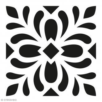 Pochoir Home Déco - Carreau ciment Feuilles - 15 x 15 cm