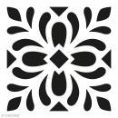 Pochoir Home Déco - Carreau ciment Feuilles - 15 x 15 cm - Photo n°1