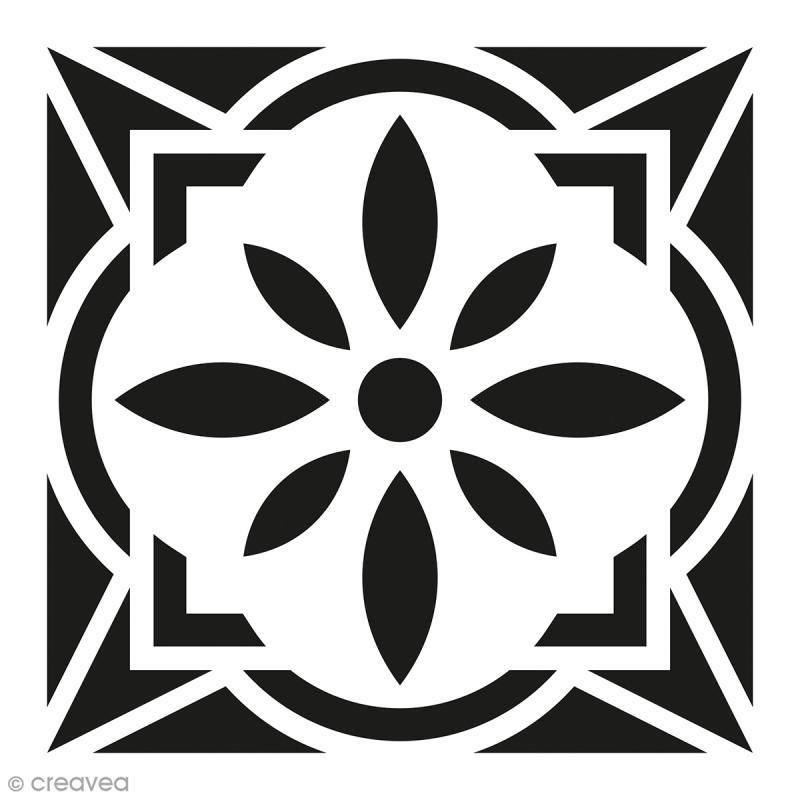 Pochoir home d co carreau ciment fleur g om trique 15 for Pochoir geometrique