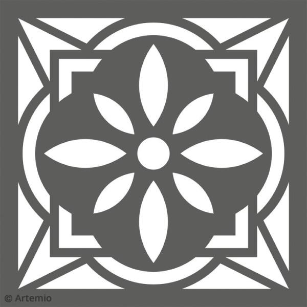 Pochoir Home Déco - Carreau ciment Fleur géométrique - 15 x 15 cm - Photo n°2