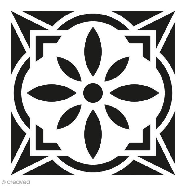 Pochoir Home Déco - Carreau ciment Fleur géométrique - 15 x 15 cm - Photo n°1