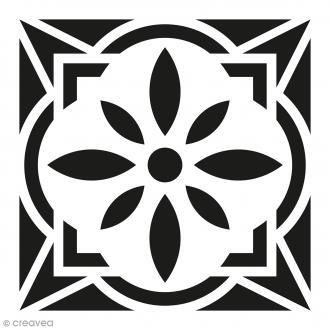 Pochoir Home Déco - Carreau ciment Fleur géométrique - 15 x 15 cm