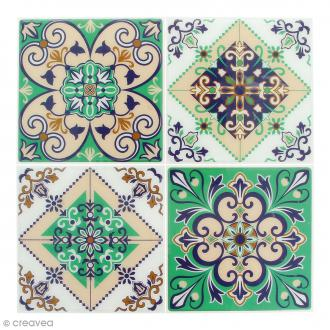 Stickers Mosaïque - Carré - Vert - 12 x 12 cm - 4 pcs