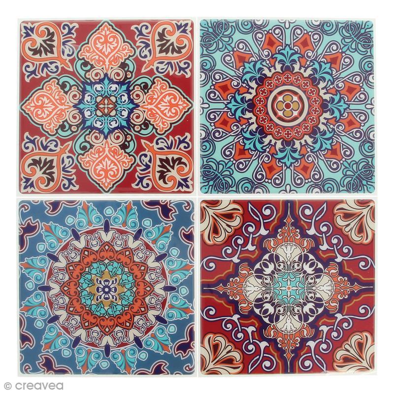 stickers mosa que carr rouge et bleu 12 x 12 cm 4 pcs tesselle mosa que creavea. Black Bedroom Furniture Sets. Home Design Ideas