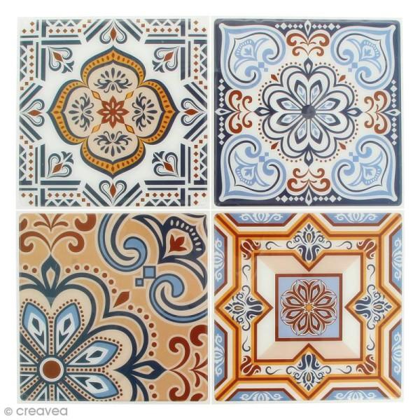 Stickers Mosaïque - Carré - Bleu et orangé - 12 x 12 cm - 4 pcs - Photo n°1