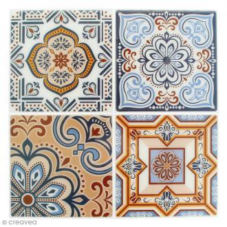 Stickers Mosaïque - Carré - Bleu et orangé - 12 x 12 cm - 4 pcs